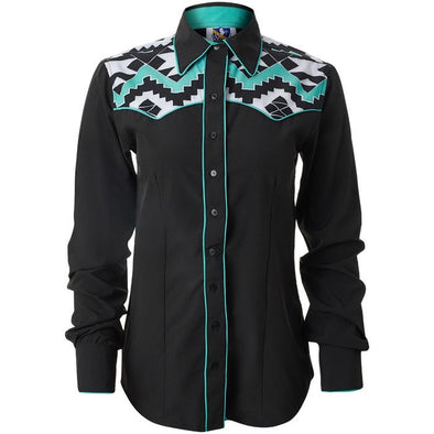 Turquoise Aztec Yoke Ranch Shirt - Sparkling Cowgirl