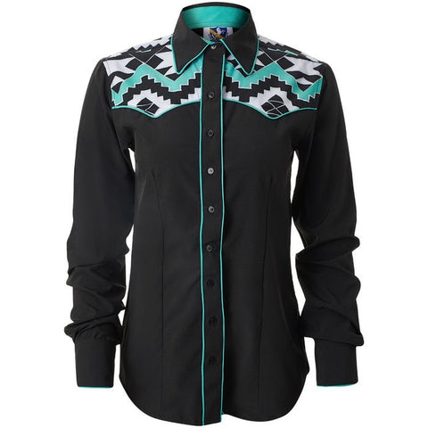 Aztec Yoke Button Up Turquoise - Sparkling Cowgirl