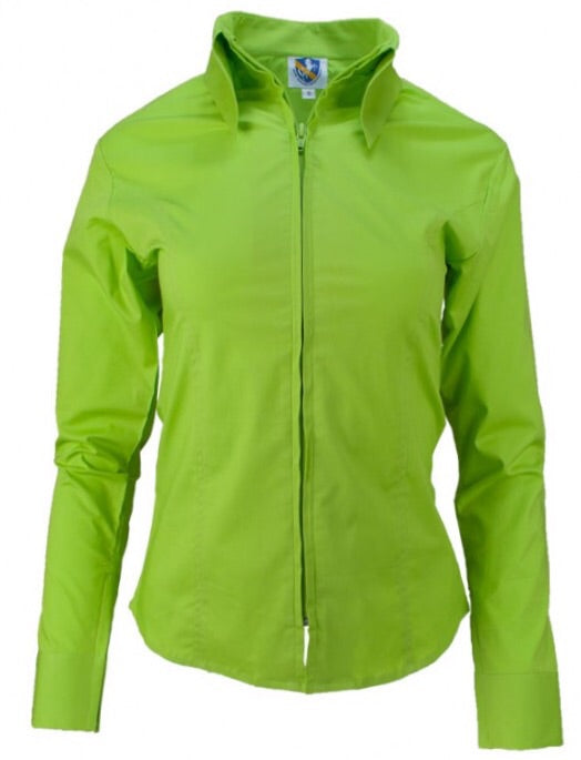 Lime Green Fitted Zip Front Show Shirt - Sparkling Cowgirl