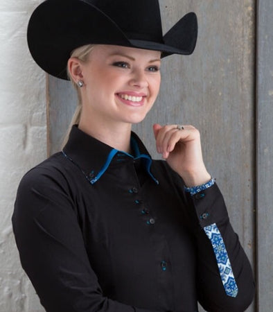 2 Tone Double Collar Black Button Show Top - Sparkling Cowgirl
