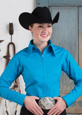 Turquoise Fitted Zip Front Show Shirt