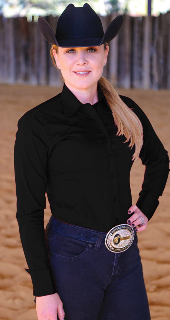 Crystal Yoke Crystal Button Up - Black - Sparkling Cowgirl
