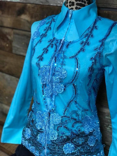 Molly Show Vest - Teal - Sparkling Cowgirl