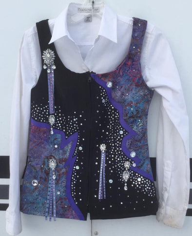 Custom Black and Purple Show Vest - Sparkling Cowgirl