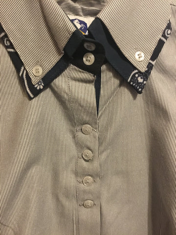 2 Tone Pinstripe Black and White Double Collar Button Up