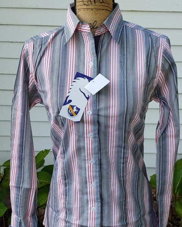 Grey and Pink Striped Western Shirt - Sparkling Cowgirl