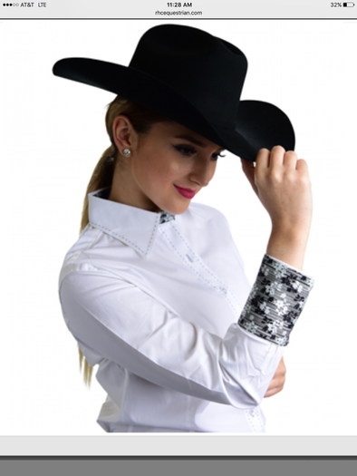 Buck Stitch Show Shirt - White - Sparkling Cowgirl