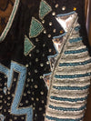 Blue Beaded Show Vest. Front Beading with Lace Back - Sparkling Cowgirl