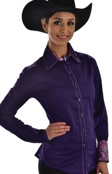 Buck Stitch Button Up Shirt - Purple - Sparkling Cowgirl