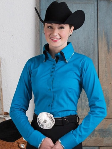 2 Tone Double Collar Turquoise Button Show Top - Sparkling Cowgirl