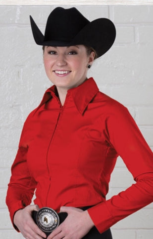 Red Fitted Zip Front Show Shirt