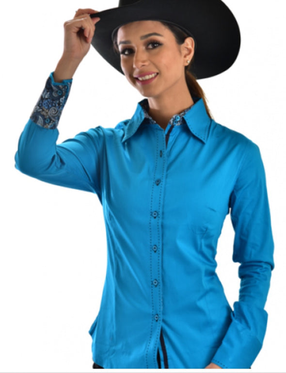 Buck Stitch Button Up Shirt - Turquoise - Sparkling Cowgirl