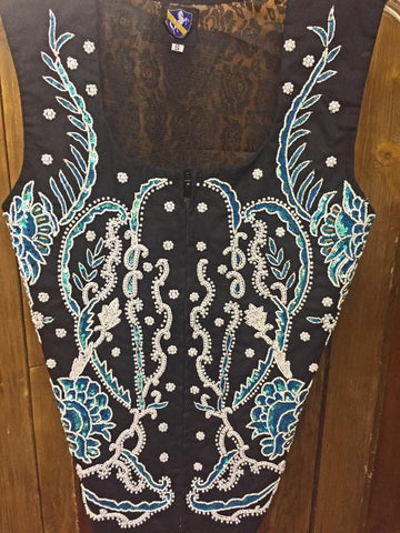 Turquoise Beaded Show Vest. Front Beading with Lace Back