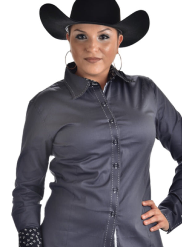 Buck Stitch Show Shirt - Gray - Sparkling Cowgirl
