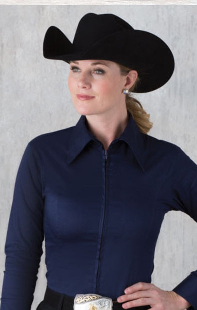 Navy Fitted Zip Front Show Shirt - Sparkling Cowgirl