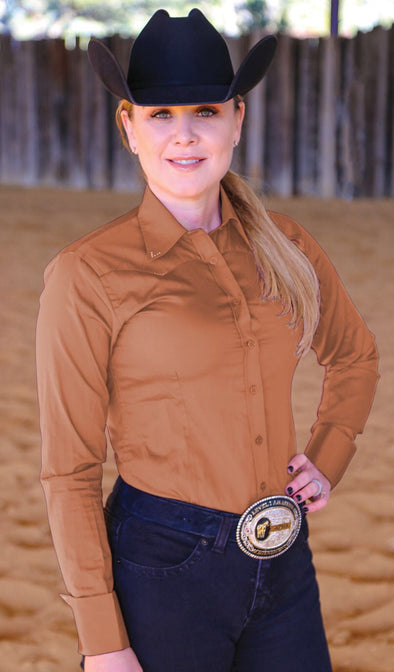 Crystal Yoke Crystal Button Up - Tan - Sparkling Cowgirl
