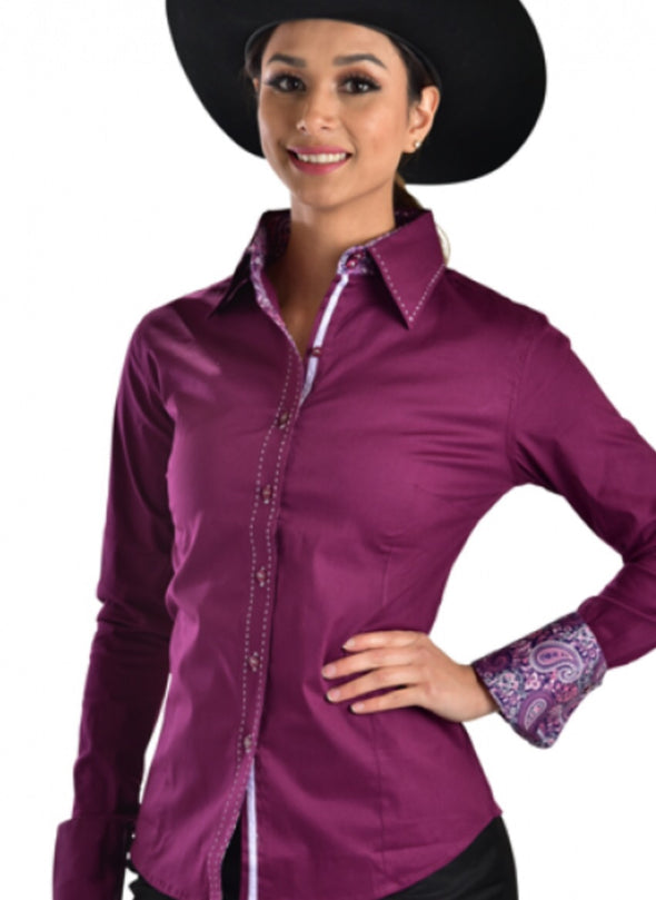 Buck Stitch Button Up Shirt - Plum - Sparkling Cowgirl