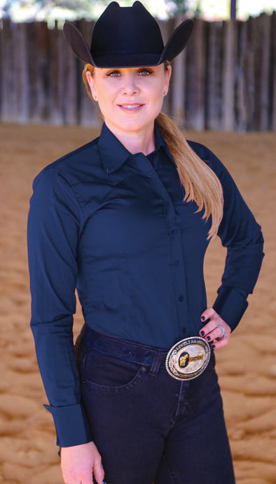 Crystal Yoke Crystal Button Up - Navy - Sparkling Cowgirl