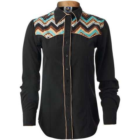 Aztec Yoke Button Up Brown - Sparkling Cowgirl