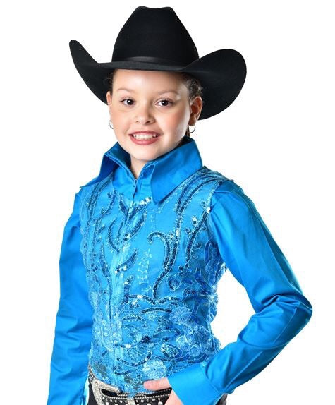 Girls Lace Sequin Show Vest - Sparkling Cowgirl