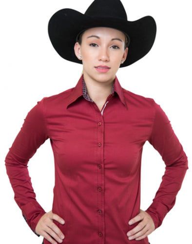 Buck Stitch Button Up Shirt - Red - Sparkling Cowgirl
