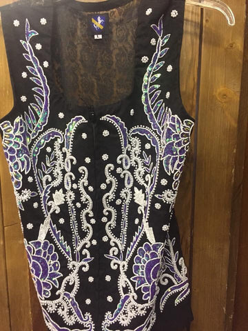 Purple Beaded Show Vest. Front Beading with Lace Back
