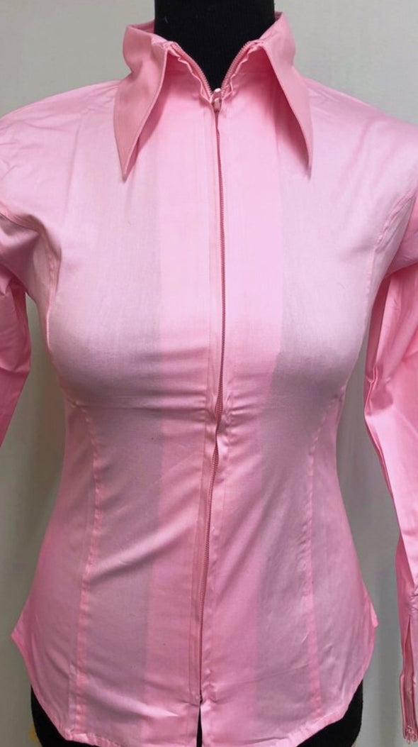 Light Pink Fitted Zip Front Show Shirt - Sparkling Cowgirl