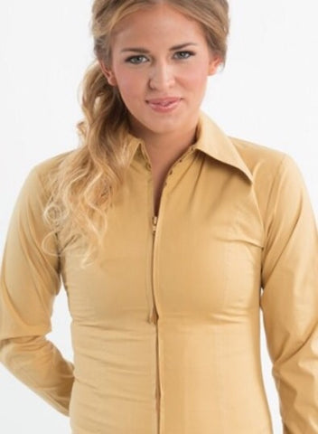 Beige Fitted Zip Front Show Shirt