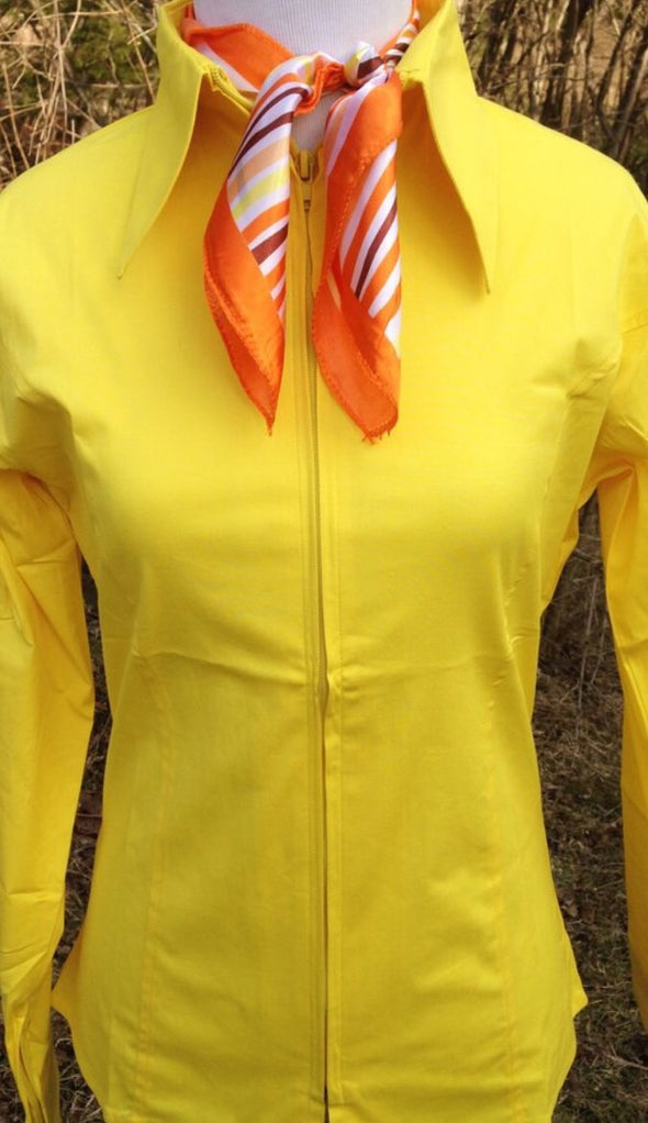Yellow Fitted Zip Front Show Shirt - Sparkling Cowgirl