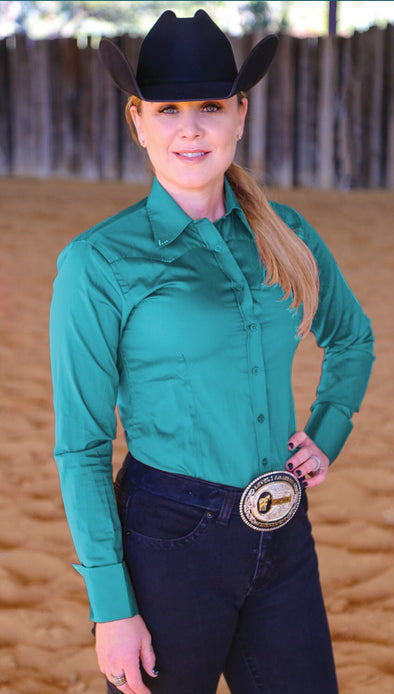 Crystal Yoke Crystal Button Up - Teal - Sparkling Cowgirl