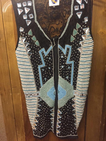 Blue Beaded Show Vest. Front Beading with Lace Back