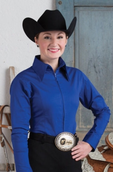 Royal Blue Fitted Zip Front Show Shirt - Sparkling Cowgirl