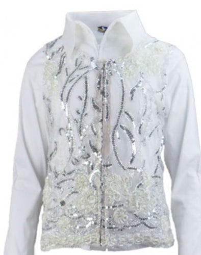 Molly Show Vest - White - Sparkling Cowgirl