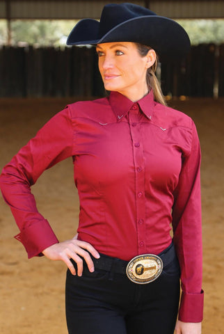 Crystal Yoke Crystal Show Shirt - Burgundy