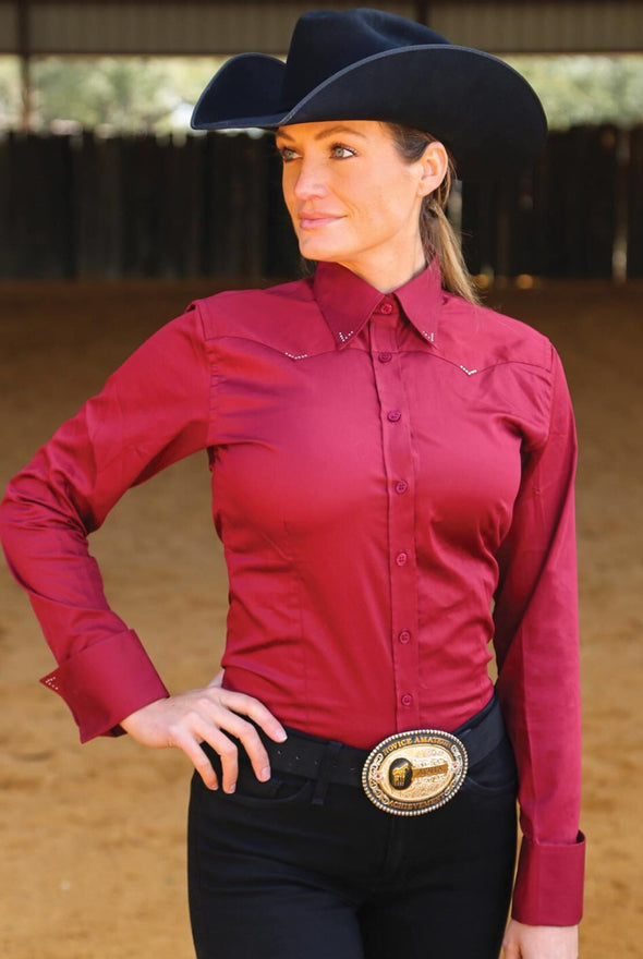 Crystal Yoke Crystal Show Shirt - Burgundy - Sparkling Cowgirl