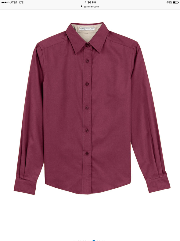 Button Up Shirt - Burgundy - Sparkling Cowgirl