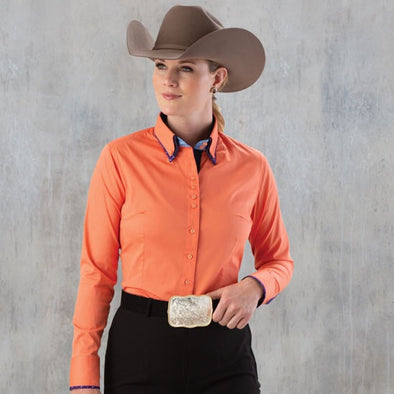 2 Tone Double Collar Peach Button Show Top - Sparkling Cowgirl