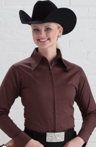 Brown Fitted Zip Front Show Shirt