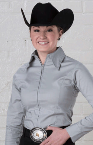 Light Grey Fitted Zip Front Show Shirt