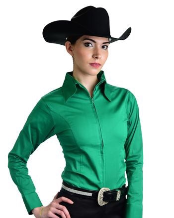 Kelly Green Fitted Zip Front Show Shirt - Sparkling Cowgirl