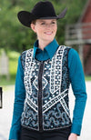 Blue and Black Scalloped Vest - Sparkling Cowgirl