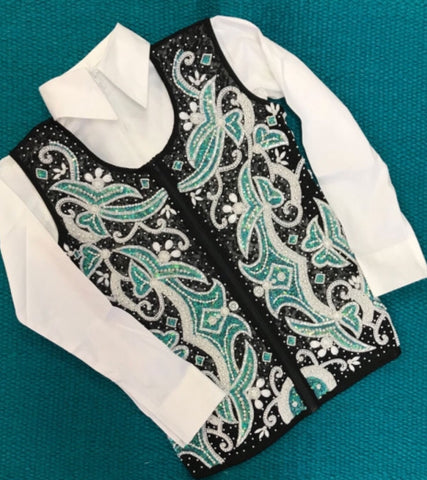 Turquoise Beaded Show Vest with Lace Back