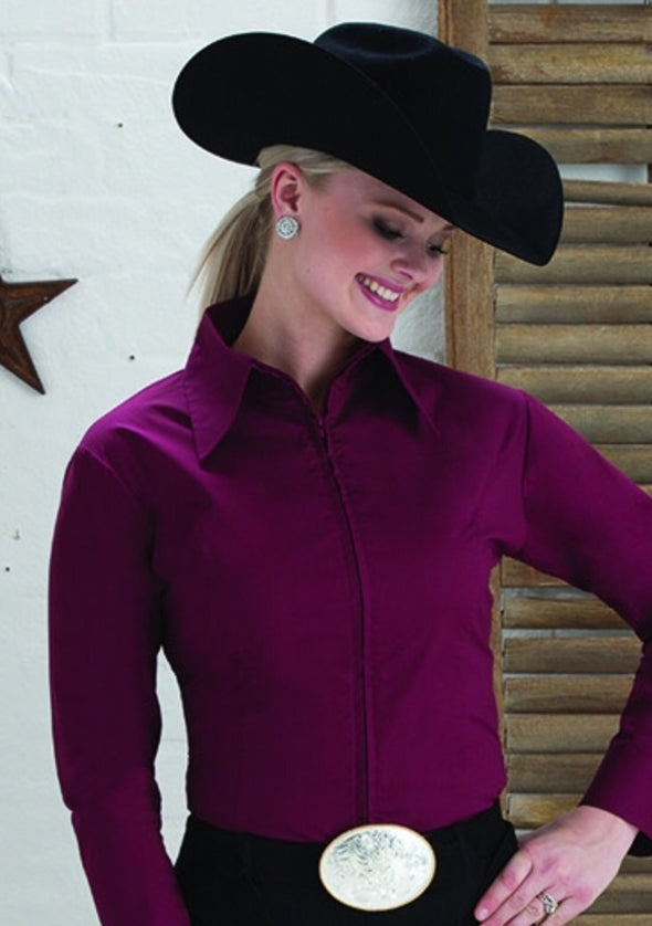 Burgundy Fitted Zip Front Show Shirt - Sparkling Cowgirl