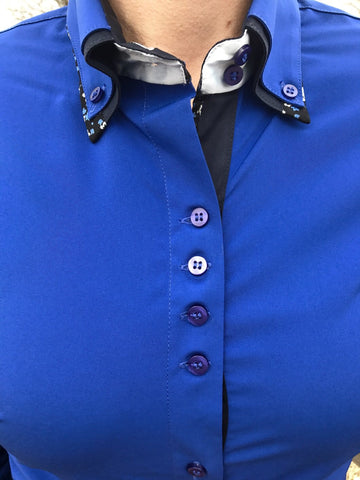2 Tone Double Collar Royal Blue Button Show Top