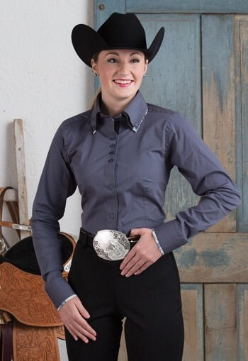 2 Tone Double Collar Grey Button Show Top - Sparkling Cowgirl