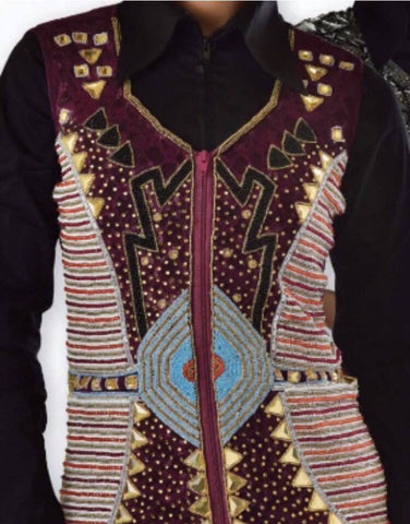 Burgundy Beaded Show Vest with Lace Back