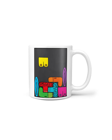 Rude Tetris Mug - crudelydrawn