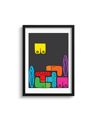 Rude Tetris Art Print - crudelydrawn