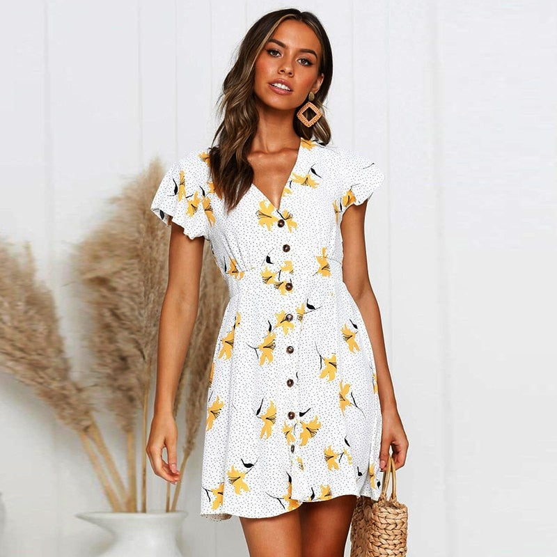 BEFORW 2019 Summer Women Floral Print Dress V Neck Ruffle Sleeve Button elegant Dresses Casual Beach Short Dress vestidos