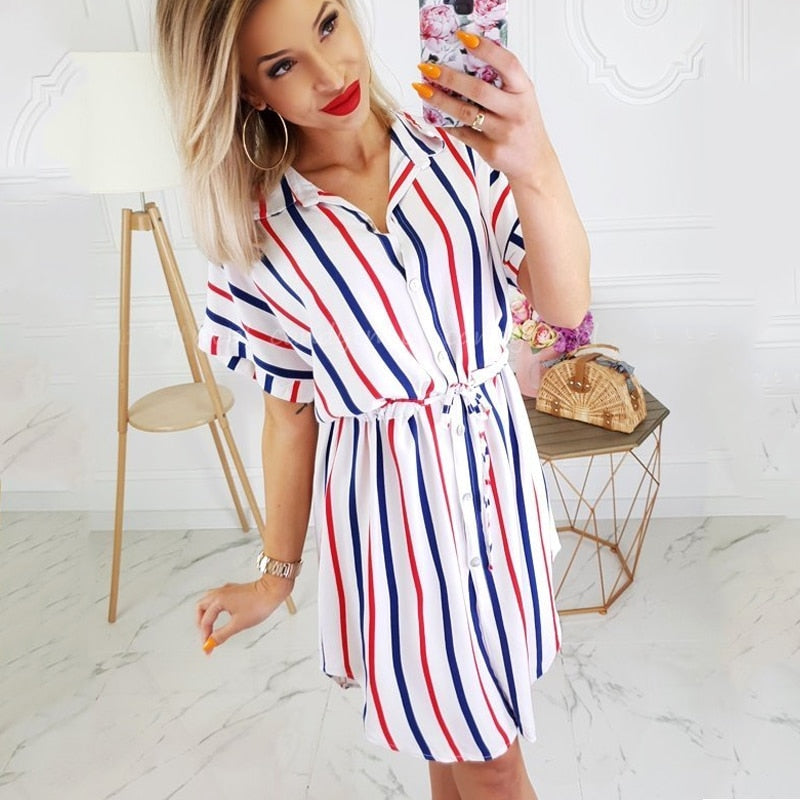BEFORW 2019 Women Stripe Print Summer Dress Casual Turn-Down Short Sleeve Elastic Waist Loose Dresses Female Streetwear Dress